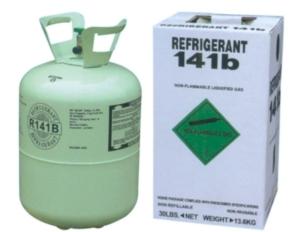 Cilindro de Gás R141b, utilizado na limpeza do ar-condicionado.