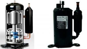Vista interna e externa de compressor. Fonte: wikipédia.
